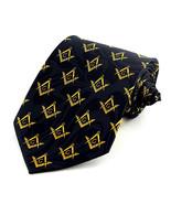 Mason Compass Mens Neck Tie Masonic Square Freemason Gift Black Necktie  - $15.79