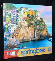 Springbok 1000 Piece Puzzle Cliff Hangers Mediterranean Homes Coastal Ne... - $29.58