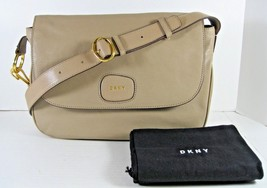 DKNY NWT Buff Beige Small Flap Leather Crossbody Messenger Bag Magnetic ... - $125.93