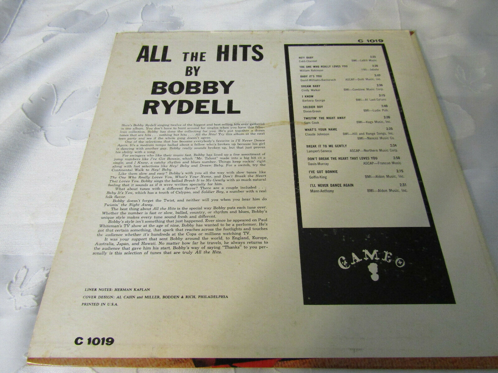 Bobby Rydell All The Hits Cameo C1019 Mono Vinyl Record LP Album image 3