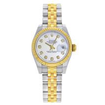 Rolex Datejust 179173 Steel 18k Yellow Gold White Diamond Dial Automatic Watch - $7,331.06