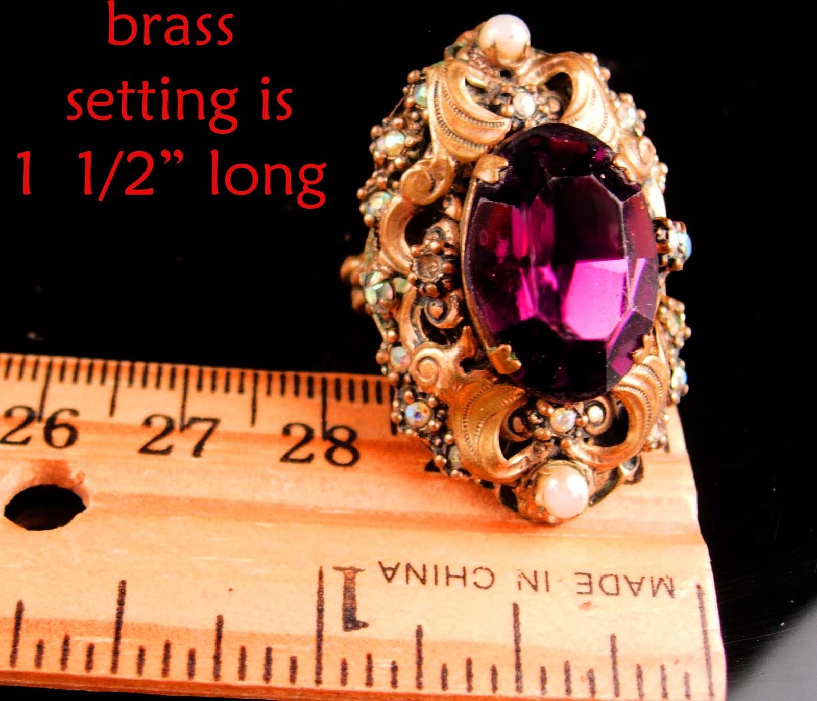 Antique Czech Ring - Purple Slag Glass - amethyst color - size 3-5 - czechoslova