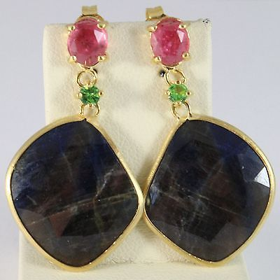9K YELLOW GOLD PENDANT EARRINGS, DROP BLUE & OVAL PINK SAPPHIRE, GREEN PERIDOT