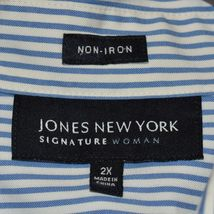 Jones New York Signature Woman Non Iron Blue & White Pinstripe Button-Up Blouse  image 3