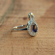 925 Sterling Silver Natural Fine Quality Blue Sapphire And Cz Gemstone Handcraft image 5