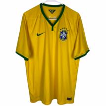 Brasil Nike Futbol Soccer Jersey Men's XL Yellow Green CBF Authentic V-Neck - $29.60