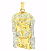 Jesus Face Pendant Free Franco Chain 18K Gold Layer Simulated Diamond Ch... - $239.97