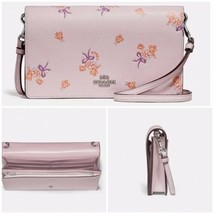 NWT Coach Foldover Crossbody Clutch With Floral Bow Print 31587 Ice Pink - $157.34 CAD