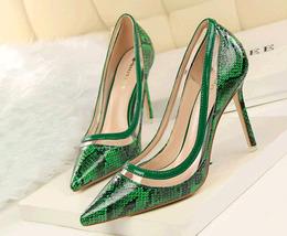 pp354 Elegant serpentine pointy pump w high stiletto,US Size 4-8.5, green - $52.80