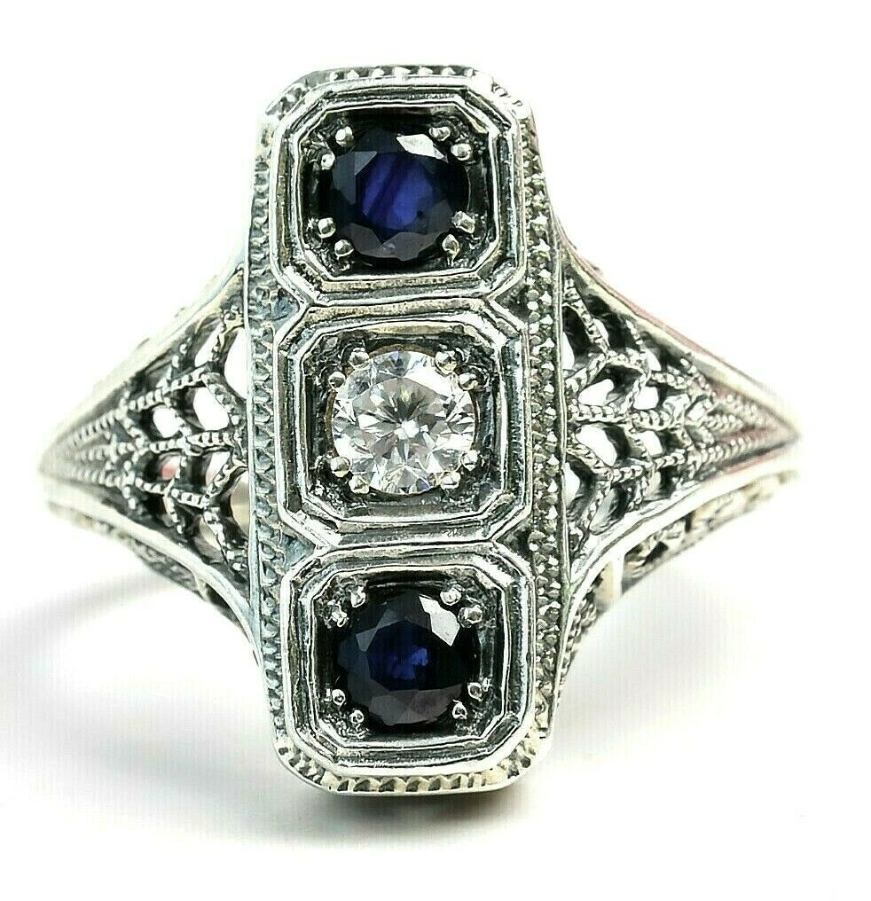 Primary image for Trufili Blue Sapphire White Topaz 3 Stone Sterling Silver Filigree Ring Sz 6