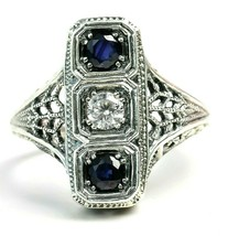 Trufili Blue Sapphire White Topaz 3 Stone Sterling Silver Filigree Ring ... - $83.16