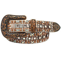 X Large M&F Nocona Women'S Leather Croc Copper Studded Silver Western Be... - $39.56