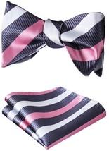 BIYINI Men's Stripe Jacquard Woven Wedding Party Self Bow Tie Set Pink / Gray / - $24.12