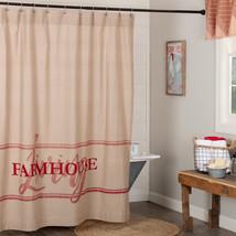 Farmhouse Living Bath Shower Curtain 72 x72 Sawyer Mill Red  - $39.95
