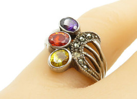 925 Silver - Vintage Amethyst Citrine & Marcasite Cluster Band Ring Sz 8... - $24.26