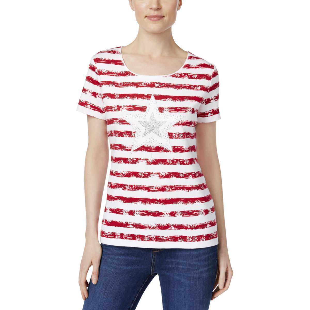 Karen Scott Womens Americana Red Patriotic Striped Casual Top, Small