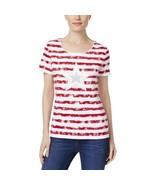 Karen Scott Womens Americana Red Patriotic Striped Casual Top, Small - $18.80