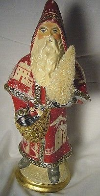 Vaillancourt Folk Art , Red Father Christmas with Village Scene  signed by Judi!