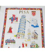 Cotton Tea Towel Pisa Italy Souvenir Points of Interest Named and in Color - $13.85