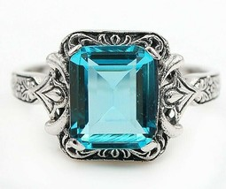 4CT Aquamarine 925 Solid Sterling Silver Edwardian Look Ring Jewelry Sz ... - $29.69