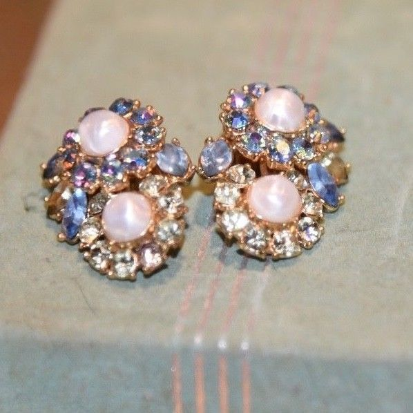 Vintage Trifari Clip  Earrings Faux Pearl PRONG SET  Rhinestone BLUE LT.GREEN