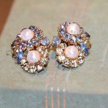 Vintage Trifari Clip  Earrings Faux Pearl PRONG SET  Rhinestone BLUE LT.GREEN image 3