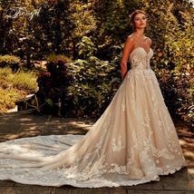 Shiny Elegant Applique Beading Sleeveless Backless Long Train A-Line Bridal Dres image 2