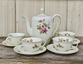 Rose of Picardy by Johann Haviland Bavaria 4-Cup Coffee Pot Demi Cup Saucer Set - $39.99