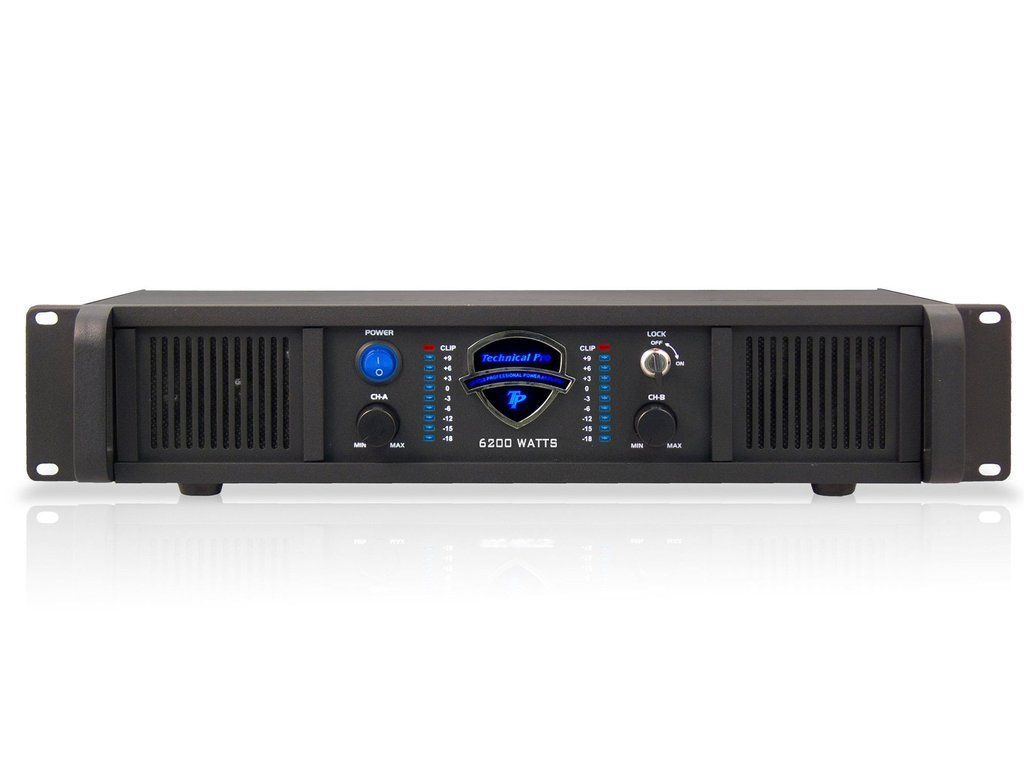 Technical Pro LZ6200 2U Professional 2CH Power Amplifier Black