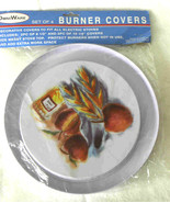 Omniware Round Burner Cover 4 pc Set Electric Stove Apple Peach Design - $16.00