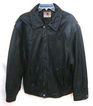 Vintage PEPSI Leather Motorcycle JACKET Black RARE Zip Front Lined Men X... - $118.75