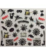 Nail Art 3D Decal Stickers Halloween Boo Spider Witch Boot Black Cat Mask - $8.10