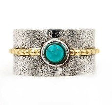 Two Tone- Spider Web Turquoise 925 Sterling Silver Ring Jewelry Sz 7.5, ... - $30.68