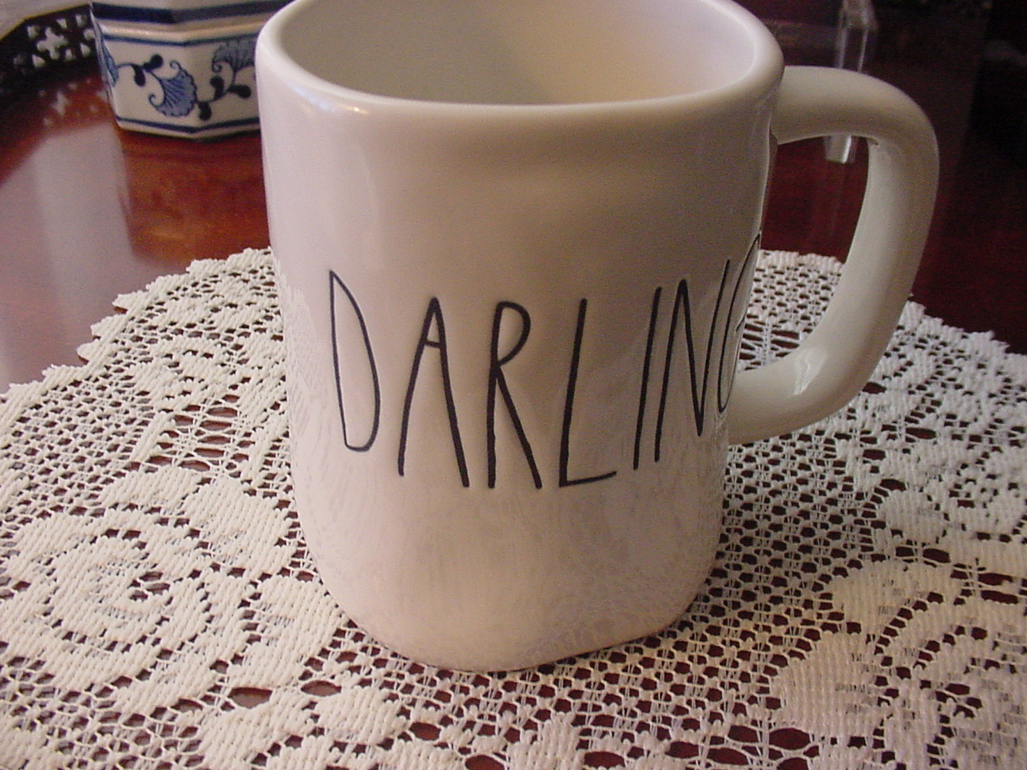 Rae Dunn DARLING Mug, Ivory with Black Lettering