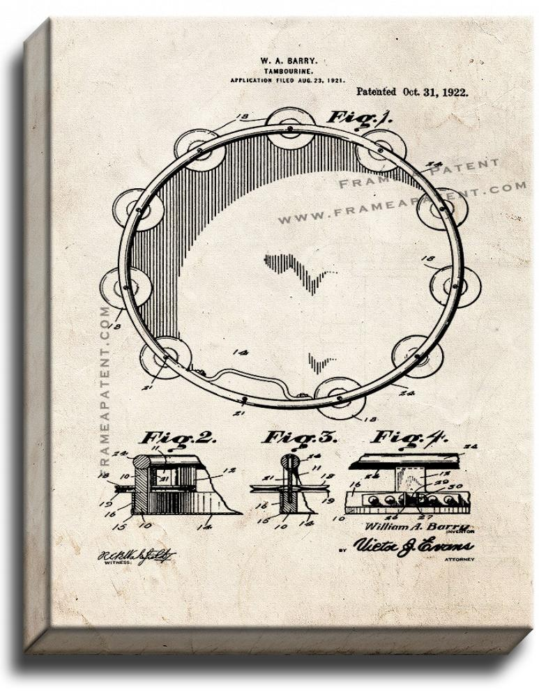 Primary image for Tambourine Patent Print Old Look on Canvas