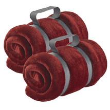 Travel Blanket, Burgundy Microplush Soft Packable Outdoor Travel Blanket... - $27.19