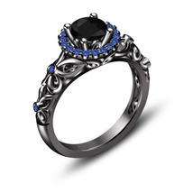 Princess Snow White Black Diamond Womens Anniversary Ring 925 Sterling S... - £55.74 GBP