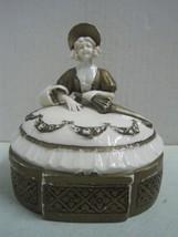 Antique Porcelain Lady Trinket, Jewelry Dresser Box nº 1433 - $66.27
