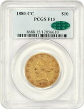 1880-CC PCGS/CAC F15 - Affordable Better Date Liberty Eagle - Gold Coin - $2,394.04