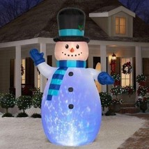 Huge 12' CHRISTMAS SNOWMAN FROSTY KALEIDOSCOPE LIGHTS INFLATABLE  YARD D... - £203.27 GBP