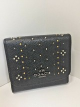 Coach Wallet Black Pebbled Leather Studded Small W26 - $69.29