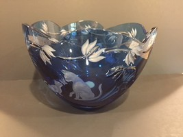 Lenox Limited Edition Crystal Cats Collection collectible blue bowl 4/500! - $125.00