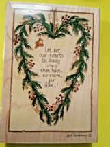 Christmas Rubber Stamps Happen  Busy Hearts  Holly Wreath   Christian Sentiment - $24.42