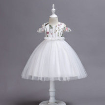 Ball Gowns White Tulle Embroidery Kids Flower Girl Dress Strapless Party Gowns  image 6