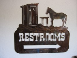 Western Outhouse Restroom Sign with arrow by HGMW - $49.49