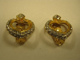 CLIP EARRINGS heart shaped gold color metal with rhinestones CLIP EARRINGS - $3.95