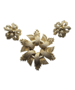 60s CORO Signed Modernist Filigree Large Chunky Starburst Brooch & Clip ... - $57.00