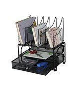 EasyPAG Double Tray Mesh Desk Organizer with Drawer and 5 Upright Sectio... - £23.16 GBP