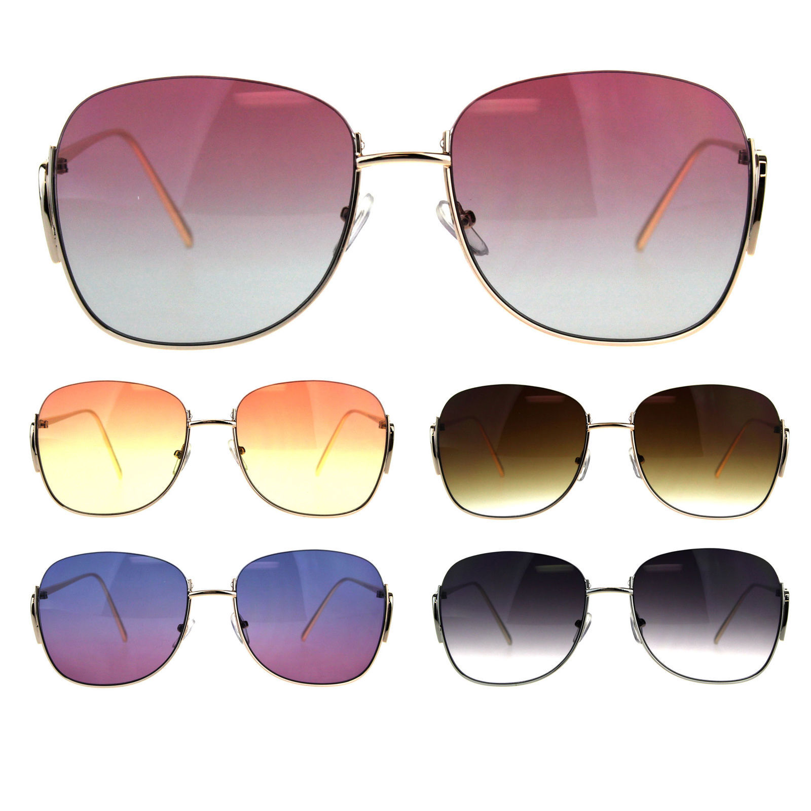 Womens Crop Top Exposed Lens Rectangular Metal Rim Sunglasses