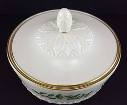 """LENOX China Holiday Dimension Sculptured Candy Jar with Lid 3-3/8"""" Dinnerware image 3"""
